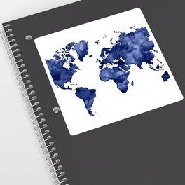 Dark navy blue watercolor world map Sticker
