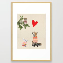 Fox and owl in love Framed Art Print
