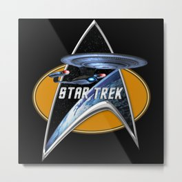 StarTrek Enterprise D Command Signia Chest Metal Print