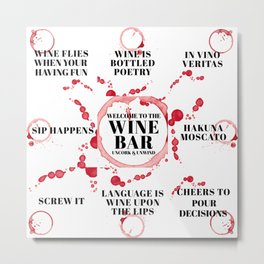 wine bar quote collection Metal Print
