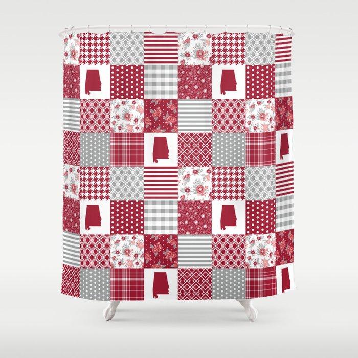Alabama University Crimson Tide Quilt Pattern College Sports Alumni Gifts Shower Curtain By Varsity