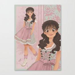 OKTOBERFEST Pink Dirndl Girl Canvas Print