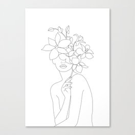 Minimal Line Art Woman with Orchids Canvas Print