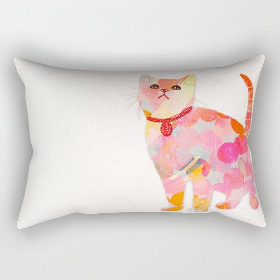pink cat Rectangular Pillow