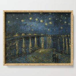 Starry Night Over the Rhone by Vincent van Gogh, 1888 Serving Tray