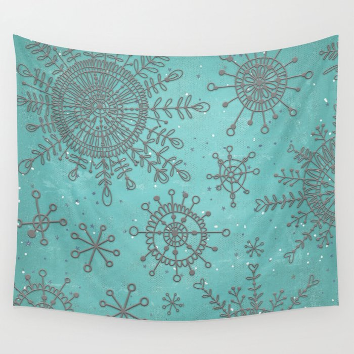 Blue and Silver Snowflakes Wall Tapestry