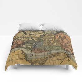 Vintage Map of Porto Portugal (1903) Comforters