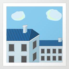 Blue roofs Art Print