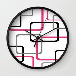 Geometric Rounded Rectangles Collage Pink Wall Clock