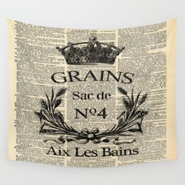 dictionary print rustic shabby french country wheat wreath Wall Tapestry