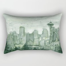 Seattle Skyline Watercolor Space Needle Emerald City 12th Man Art Rectangular Pillow