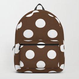 Van Dyke brown - brown - White Polka Dots - Pois Pattern Backpack