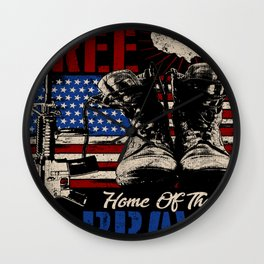 Land of the FREE Home of the BRAVE, gift idea for Military men or women Wall Clock