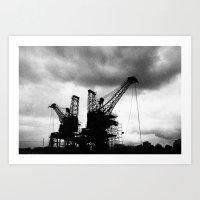 Battersea Powerstation Cranes Art Print