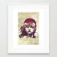 les miserables Framed Art Prints featuring Les Miserables Girl by Pop Atelier