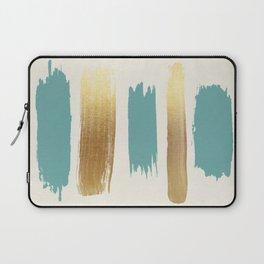 Brush Strokes (Teal/Gold) Laptop Sleeve