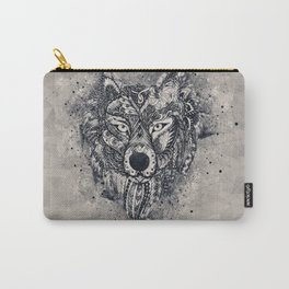 Geometric Wolf Mandala Carry-All Pouch