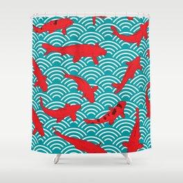 Koi carp. Red fish. black outline sketch doodle. azure teal burgundy maroon Nature oriental backgrou Shower Curtain
