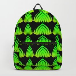 Alternating pattern of lime hearts and stripes on a black background. Backpack