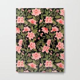 Tropical Pink Floral Pattern Metal Print