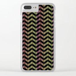 Zigzag striped pattern.Black, green, Burgundy stripes. Clear iPhone Case