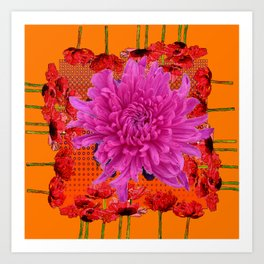 SURREAL MODERN LILAC MUM RED FLOWERS ART Art Print