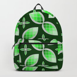 Silver Foil Green Tea Mint Stained Glass Herbal Design Backpack