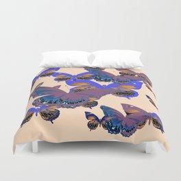 BLUE-PUCE PURPLE  BUTTERFLIES  CREAM COLOR ART Duvet Cover