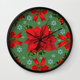 SNOW FLAKES & RED CHRISTMAS POINSETTIA HOLLY BERRIES ART Wall Clock