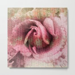 Knitted Rose Melting Ice Metal Print