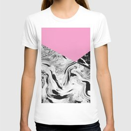Pink Black and White Marble Colour Blocking T-shirt