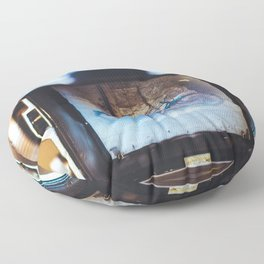 Vintage Camera and Retro Bicycle Floor Pillow
