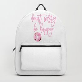 Donut Poster, Donut Worry Be Happy, Home Decor, Pink Poster, Girls Room Decor Backpack