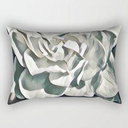 White Azalea Flower with Green Leaves Rectangular Pillow
