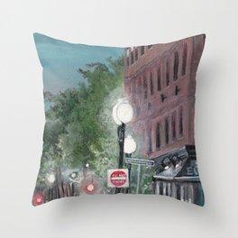 Old Building Street Lights Massachusetts Throw Pillow