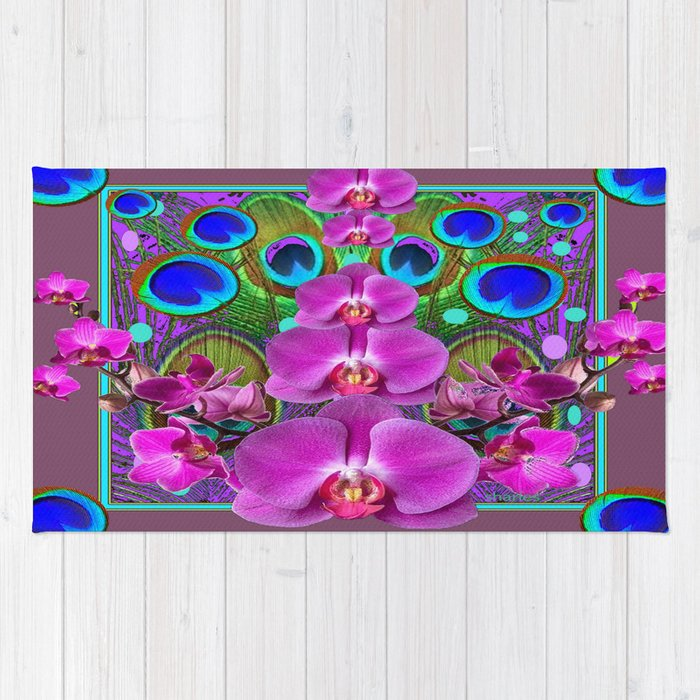 Puce Purple Pink Orchids Blue Peacock Feather Eyes Rug