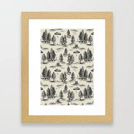 Black Alien Abduction Toile De Jouy Pattern Framed Art Print