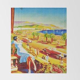 Vintage Nice Italy Travel Throw Blanket