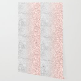 Real Marble and Rose Gold Mermaid Sparkles III Wallpaper