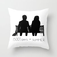 500 days of summer Throw Pillows featuring (500) Days of Summer by ☿ cactei ☿