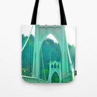 marc johns Tote Bags featuring St. Johns Bridge Portland Oregon by Teresa Chipperfield Studios