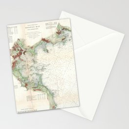 Vintage Map of Boston Bay (1866) Stationery Cards