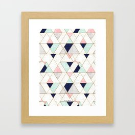 Mod Triangles - Navy Blush Mint Framed Art Print