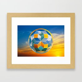 Sacred geometry sunset Framed Art Print