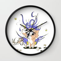 okami Wall Clocks featuring Little Cerberus in Okami style by Clgtart