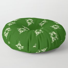 Canalflowers on green pattern Floor Pillow