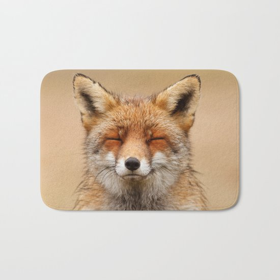 Zen Fox (Red Fox smiling) Bath Mat