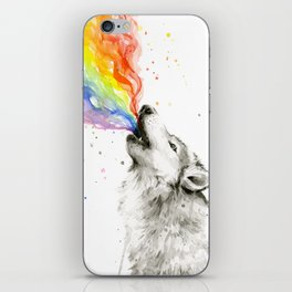Wolf Howling Rainbow Watercolor iPhone Skin