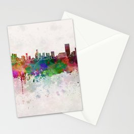 Monterrey skyline in watercolor background Stationery Cards