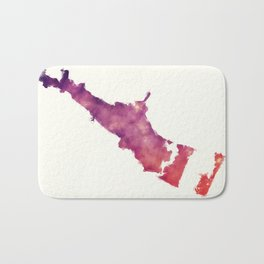 Corpus Christi Texas city watercolor map in front of a white background Bath Mat